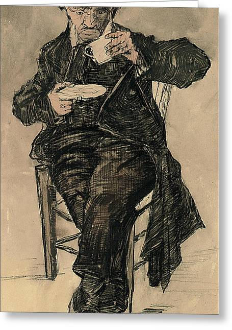 Orphan Man With A Top Hat Drinking A Cup Of Coffee Greeting Card