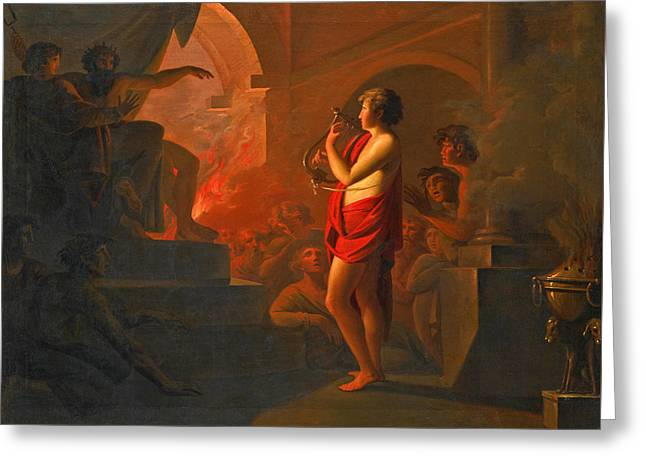 Orpheus And Eurydice In The Underworld Greeting Card by Follower of Heinrich Fuger