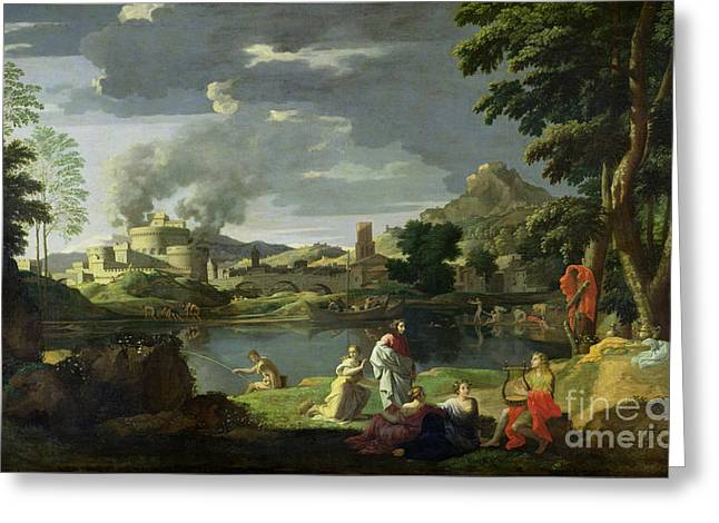 Poussin; Nicolas (1594-1665) Greeting Cards - Orpheus and Eurydice Greeting Card by Nicolas Poussin
