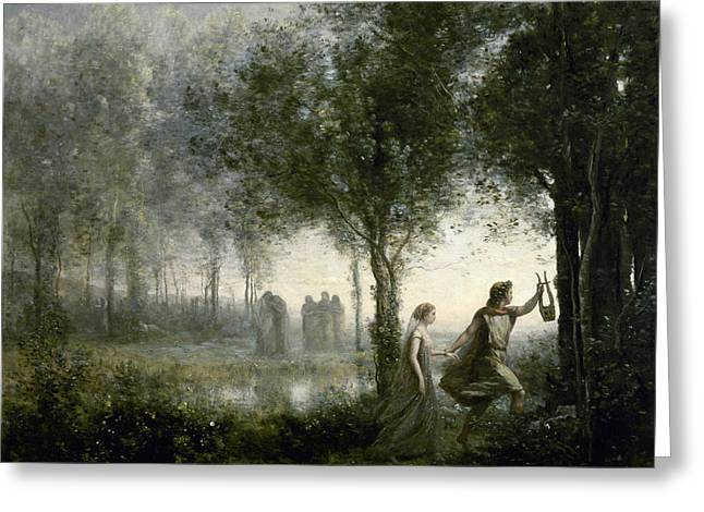 Orpheus Leading Eurydice From The Underworld Greeting Card by Jean-Baptiste-Camille Corot
