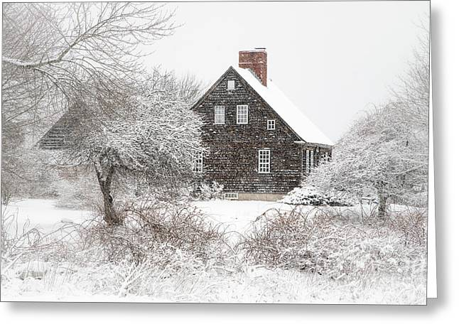 Orrs Island Home In A Snow Storm Greeting Card by Benjamin Williamson