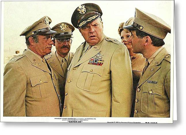 Orson Welles As Brigadier General Dreedle Lobby Card Catch 22 1970 Greeting Card by David Lee Guss