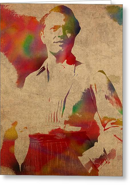 Orson Welles Citizen Kane Movie Star Actor Watercolor Portrait On Worn Distressed Canvas Greeting Card by Design Turnpike
