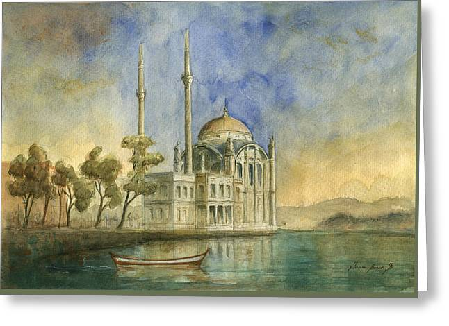 Ortakoy Mosque Istanbul Greeting Card by Juan Bosco
