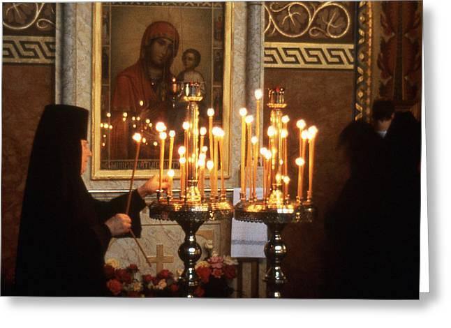 Orthodox Church Georgia Nuns Lighting Prayer Candles Greeting Card by Richard Singleton