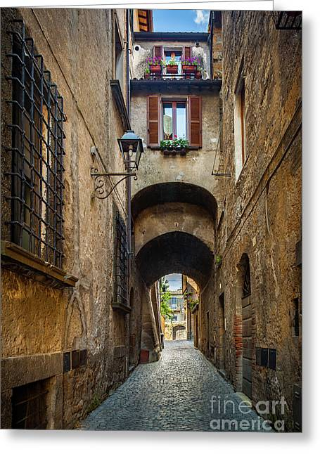 Orvieto Alley Greeting Card by Inge Johnsson