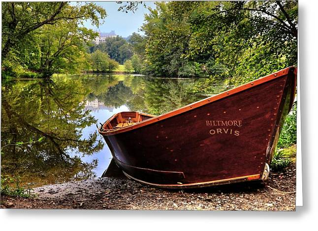 Orvis Rowboat And Biltmore Reflection Greeting Card