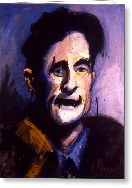 Greeting Card featuring the painting Orwell by Les Leffingwell