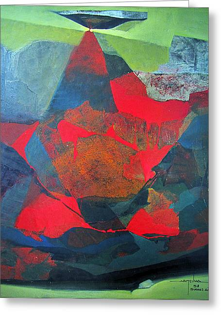 Os1958ar010ba Abstract Landscape Of Potosi Bolivia 21.9 X 27.6 Greeting Card