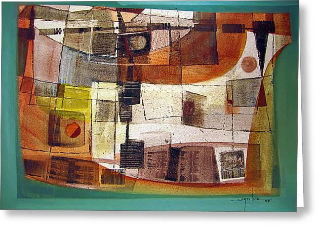 Intuition Greeting Cards - OS1958BO002 Abstract Landscape Potosi 23.5x16.75 Greeting Card by Alfredo Da Silva