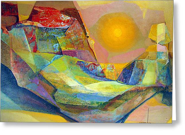 Os1959bo005 Abstract Landscape Potosi 22.75x18.5 Greeting Card by Alfredo Da Silva