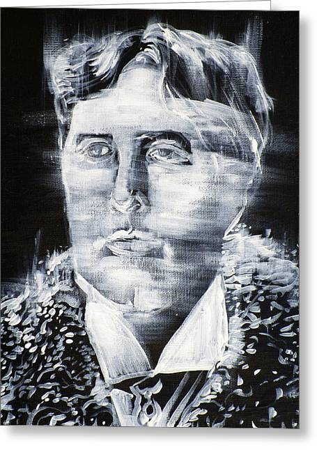 Oscar Wilde - Acrylic Portrait.3 Greeting Card by Fabrizio Cassetta