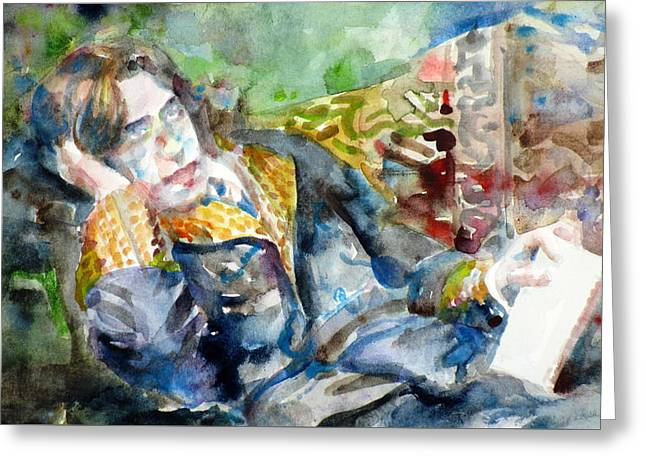 Oscar Wilde - Watercolor Portrait.12 Greeting Card by Fabrizio Cassetta