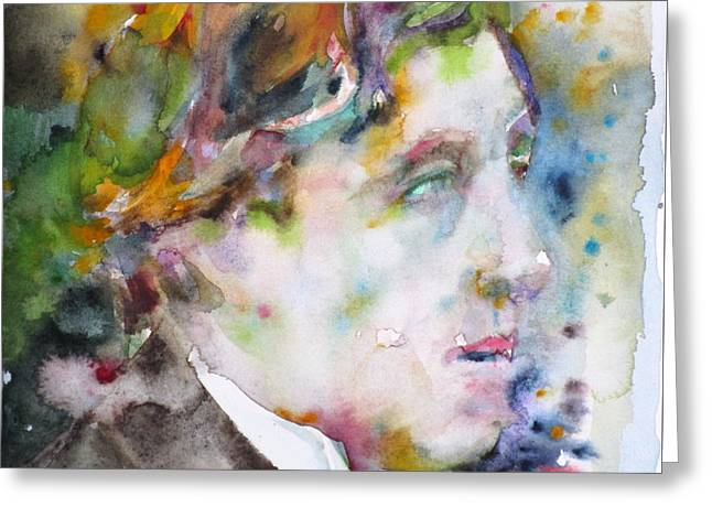 Oscar Wilde - Watercolor Portrait.8 Greeting Card by Fabrizio Cassetta