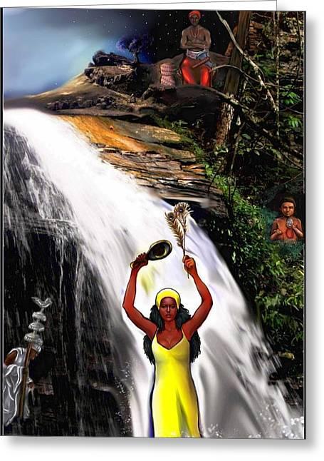 Oshun, Obatala, Elegua And Chango Greeting Card