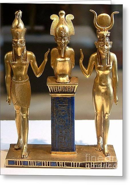 Osiris Horus And Isis Greeting Card by Frederick Holiday