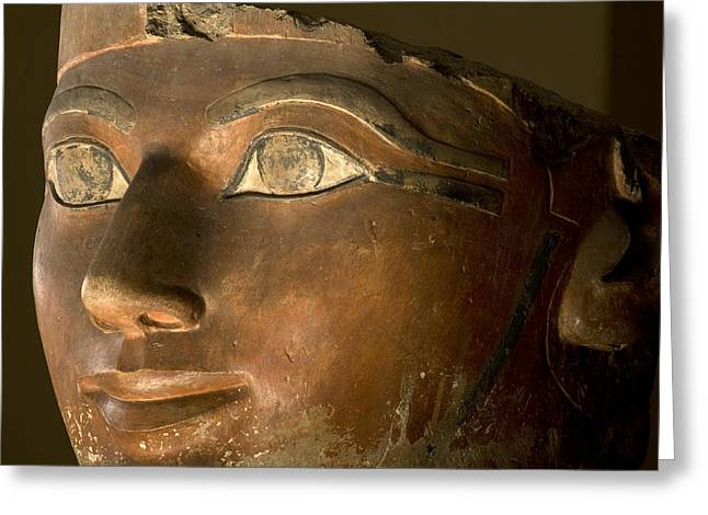 Painted Sculpture Greeting Cards - Osiris Statue Face Of Hatshepsut Greeting Card by Kenneth Garrett