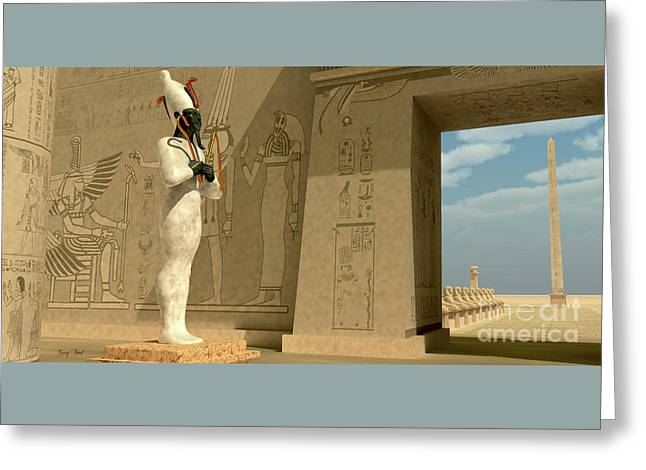Osiris Statue In Pharaoh Temple Greeting Card by Corey Ford