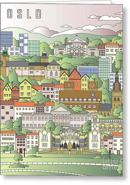 Oslo City Poster Greeting Card by Pablo Romero