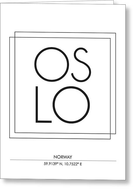 Oslo, Norway - City Name Typography - Minimalist City Posters Greeting Card