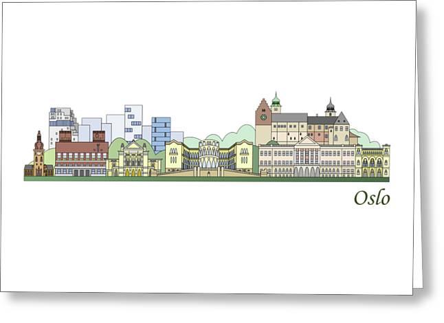 Oslo Skyline Colored Greeting Card by Pablo Romero