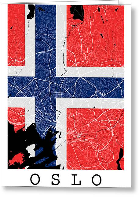 Oslo Street Map - Oslo Norway Road Map Art On Norway Flag Greeting Card by Jurq Studio