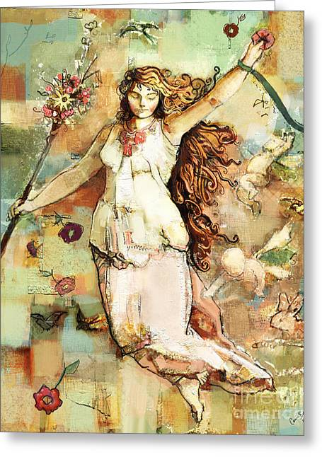 Greeting Card featuring the mixed media Ostara by Carrie Joy Byrnes