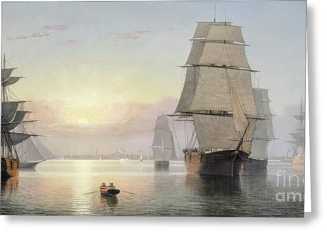 Boston Harbor, Sunset Greeting Card by Fitz Henry Lane