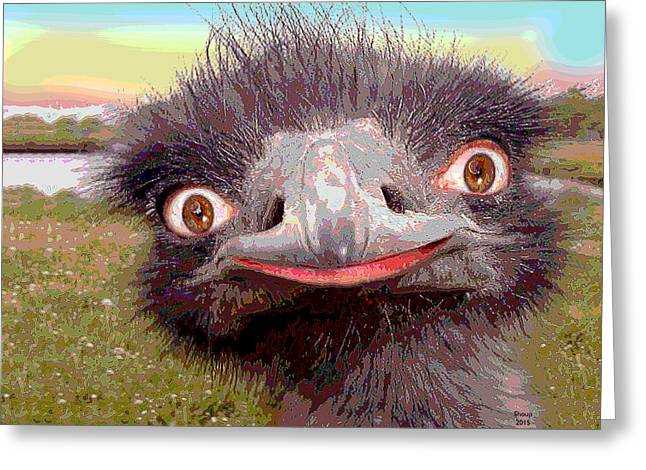 Ostrich Flightless Bird Greeting Card by Charles Shoup