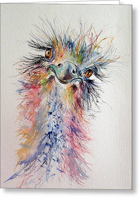 Ostrich Greeting Card by Kovacs Anna Brigitta