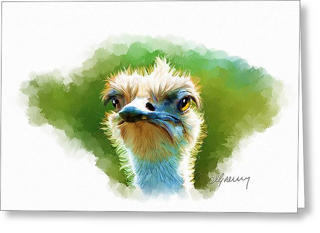 Ostrich Portrait Greeting Card by Michael Greenaway