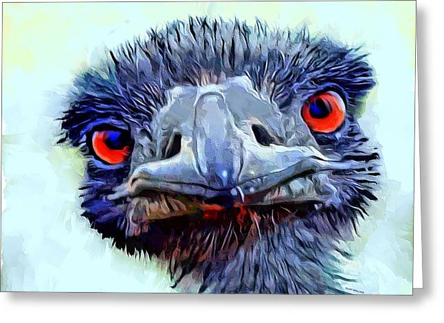Ostrich Portrait Greeting Card by Scott Wallace