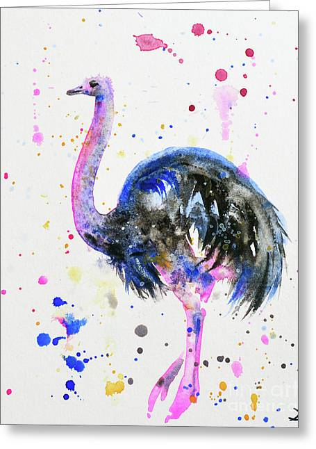 Ostrich Greeting Card by Zaira Dzhaubaeva