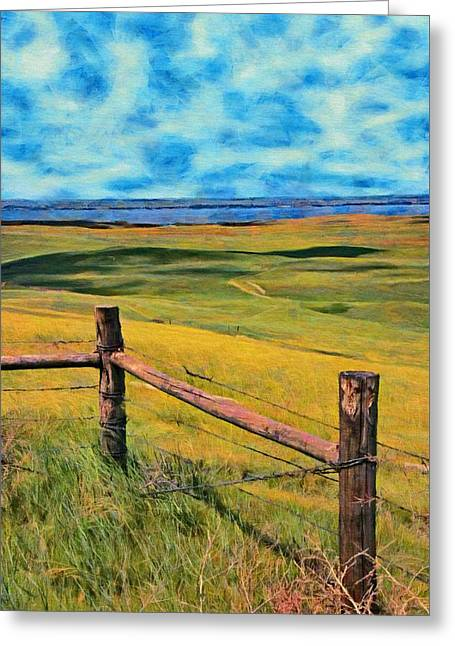 Greeting Card featuring the painting Other Side Of The Fence by Jeff Kolker