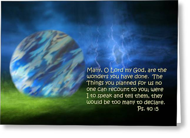 Otherworldly Psalm Forty Vs Five Greeting Card by Linda Phelps