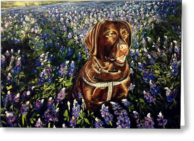 Otis In The Bluebonnets Greeting Card