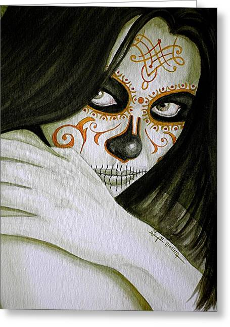 Painted Face Greeting Cards - Otro Dia Triste sin Ti  Greeting Card by Al  Molina
