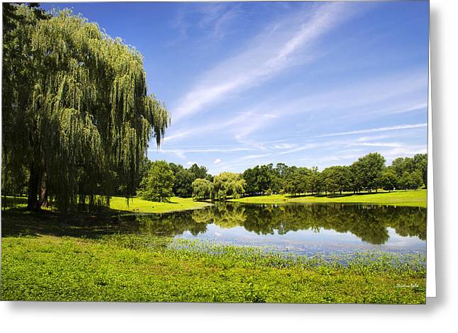 Otsiningo Park Reflection Landscape Greeting Card by Christina Rollo