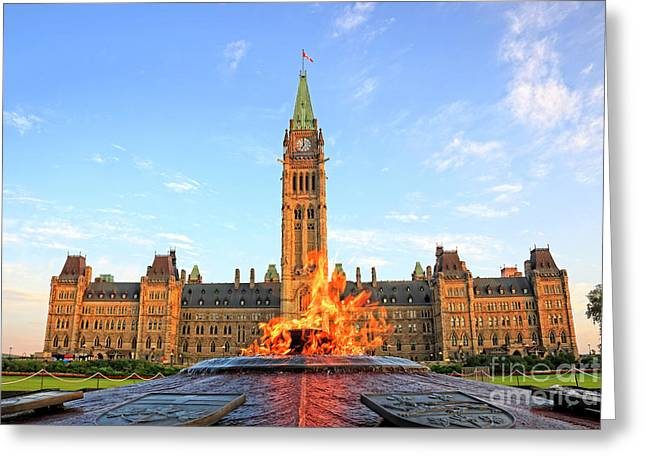 Ottawa Parliament Hill With Centennial Flame Greeting Card by Charline Xia