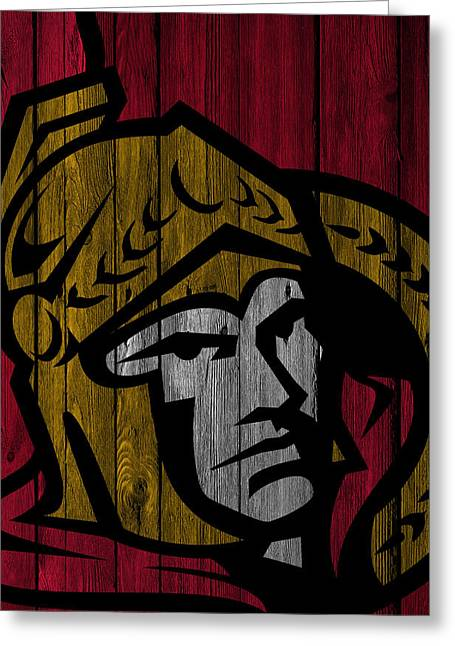 Ottawa Senators Wood Fence Greeting Card