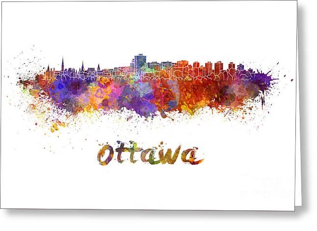 Ottawa Skyline In Watercolor Greeting Card