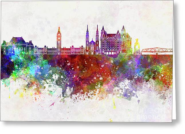 Ottawa V2 Skyline In Watercolor Background Greeting Card