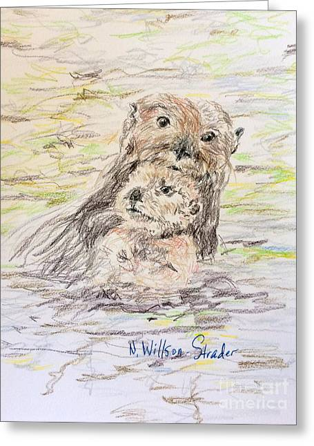 Otter And Baby Greeting Card by N Willson-Strader