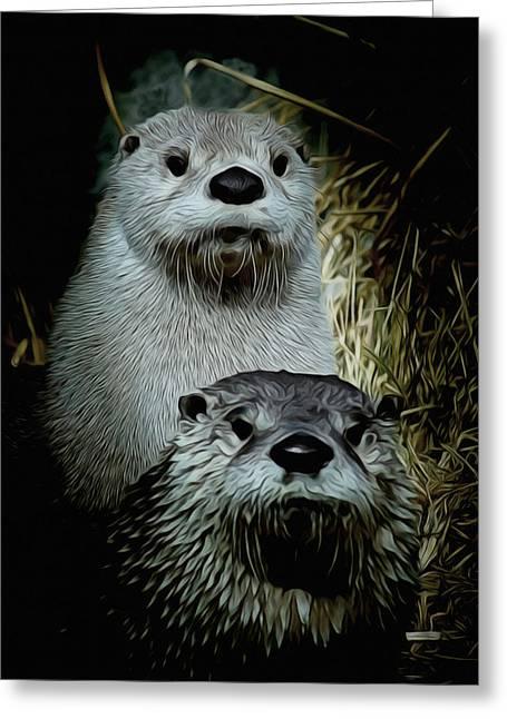 Otter Family Portrait Greeting Card by Ernie Echols