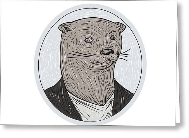 Otter Head Blazer Shirt Oval Drawing Greeting Card by Aloysius Patrimonio
