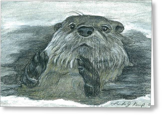 Otter In Ice Greeting Card