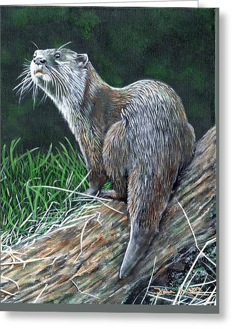 Otter On Branch Greeting Card