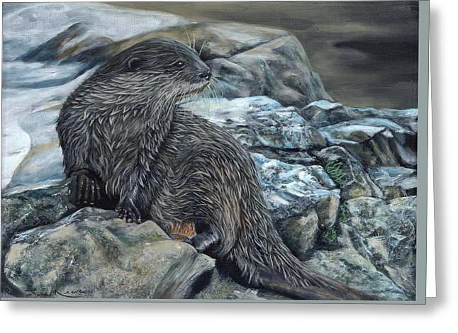 Otter On Rocks Greeting Card