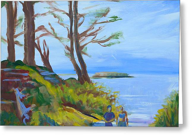 Otter Rock Marine Garden Path Greeting Card by Pam Van Londen