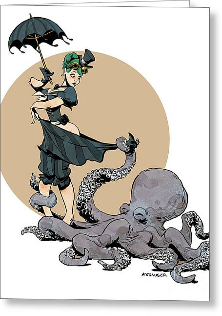 Octopus Greeting Cards - Otto By The Sea Greeting Card by Brian Kesinger